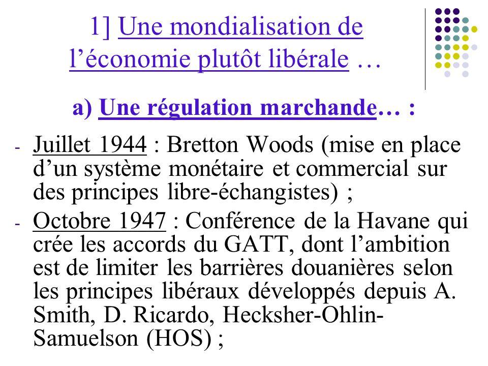 1] Une mondialisation de l'économie plutôt libérale …